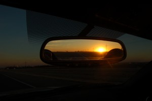 Sunset in the rear view mirror.